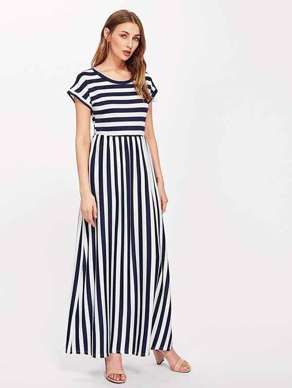 Multi color stripe dress with sudae contrast