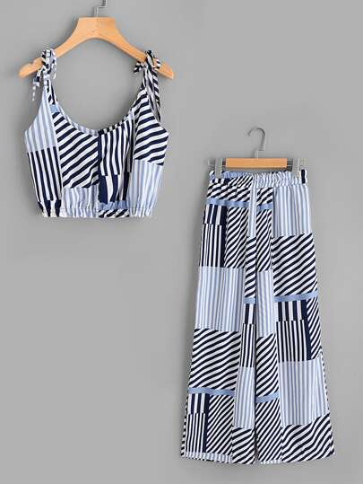 Random Striped Tie-Strap Crop Top With Wide Leg Pants