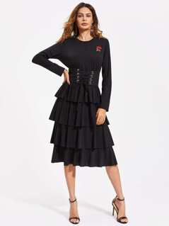 Rose Patch Corset Belt Detail Tiered Dress