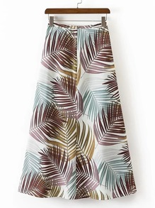 Leaves Print Zipper Back A Line Skirt