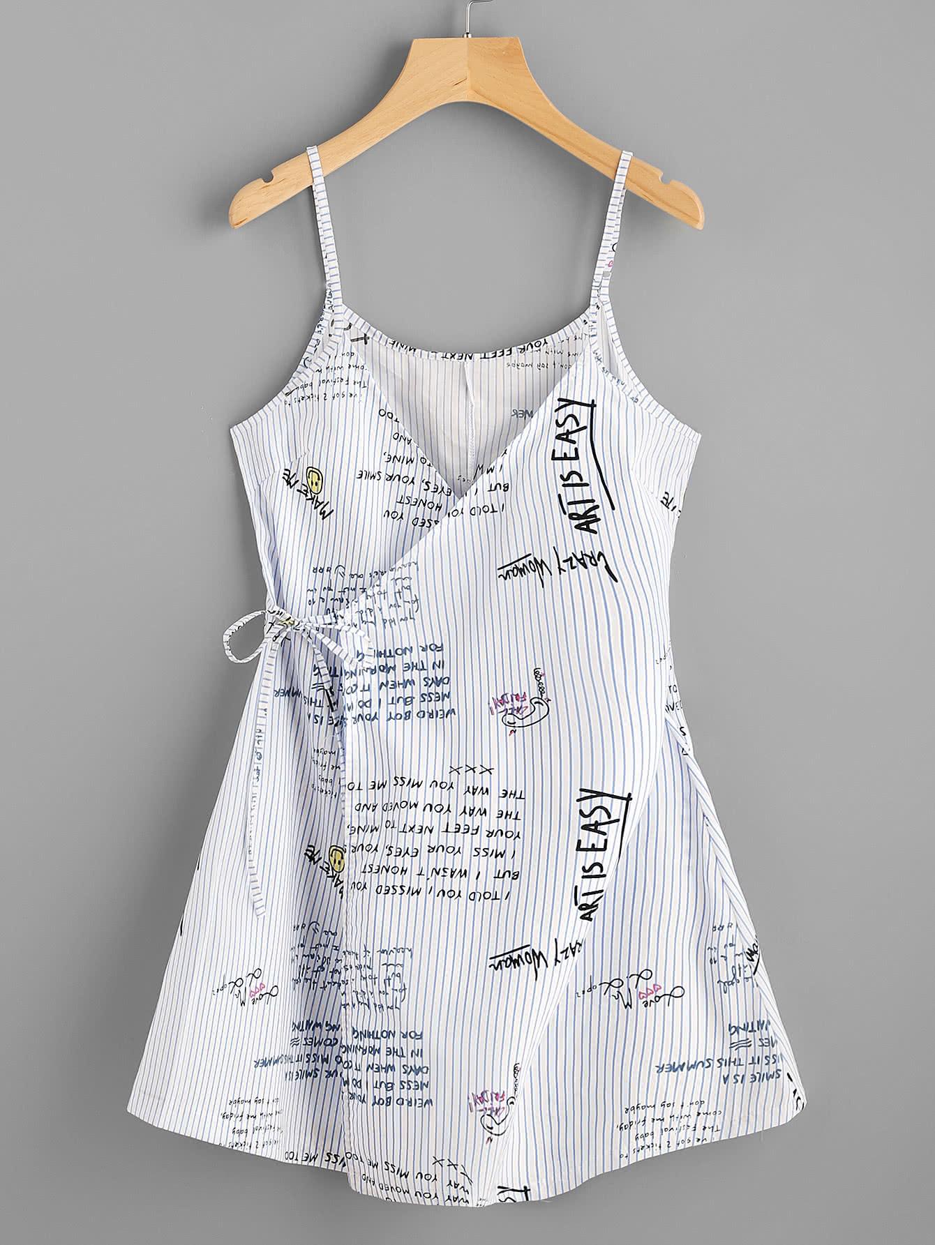 Фото Striped Slogan Print Wrap Self Tie Cami Dress. Купить с доставкой