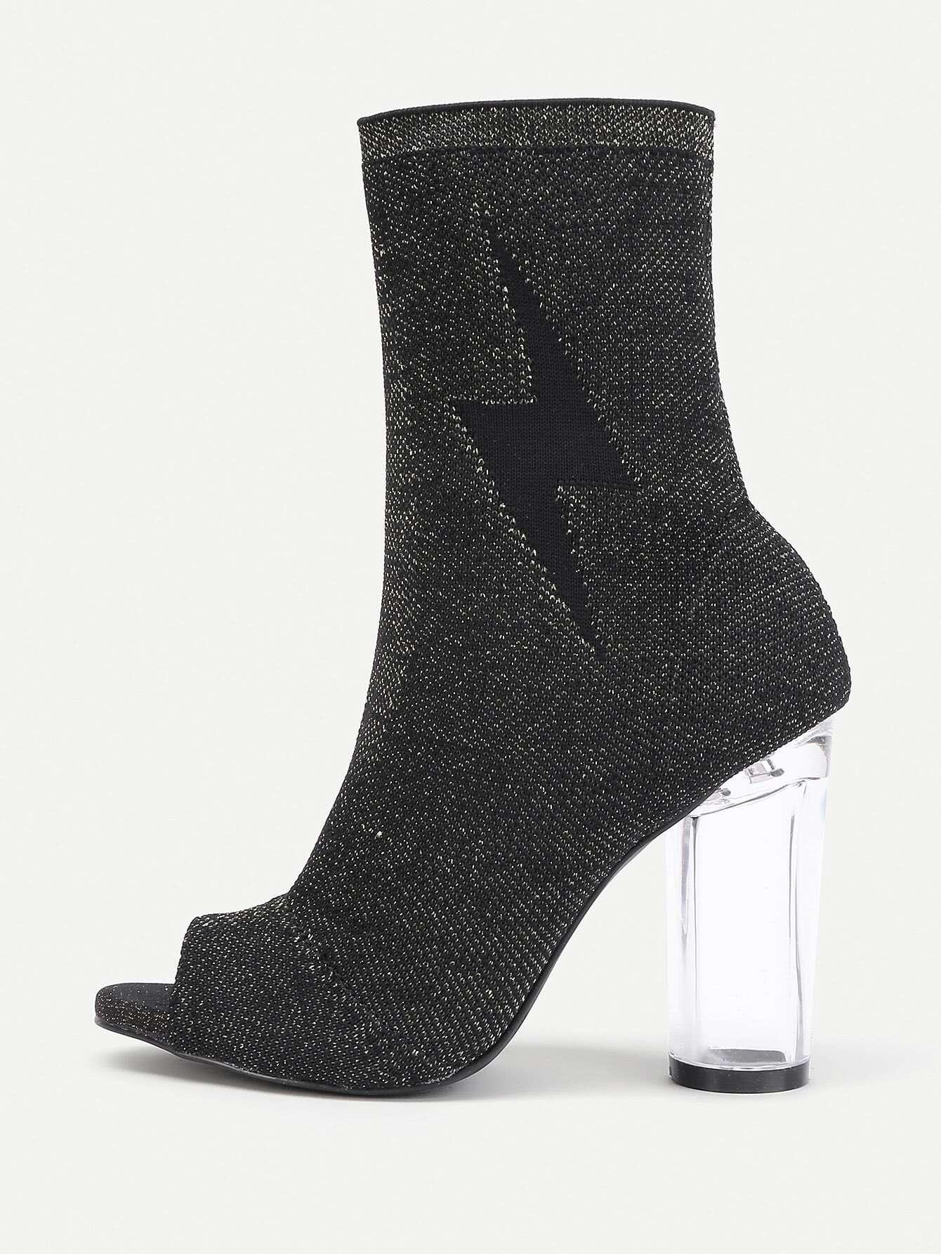 Peep Toe Transparent Heeled Boots