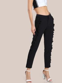 Ruffle Trim Dress Pants BLACK
