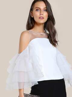 Mesh Cutout Ruffle Sleeve Top WHITE
