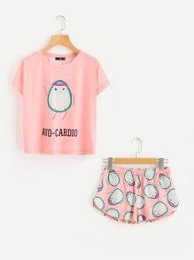 Cartoon Avocado Print Tee And Shorts Set