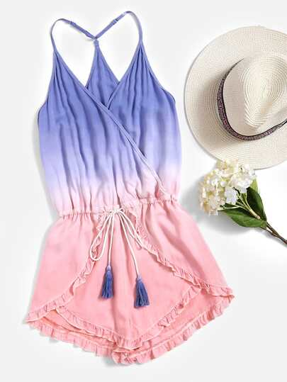 Y Back Frilled Surplice Wrap Ombre Playsuit pictures
