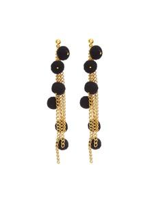 Pom Pom Detail Tassel Chain Drop Earrings
