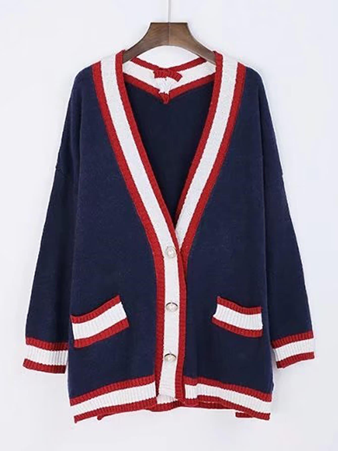 Drop Shoulder Contrast Binding Sweater Coat sweater170721202