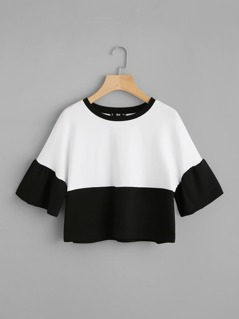 Bell Sleeve Contrast Cut And Sew Tee