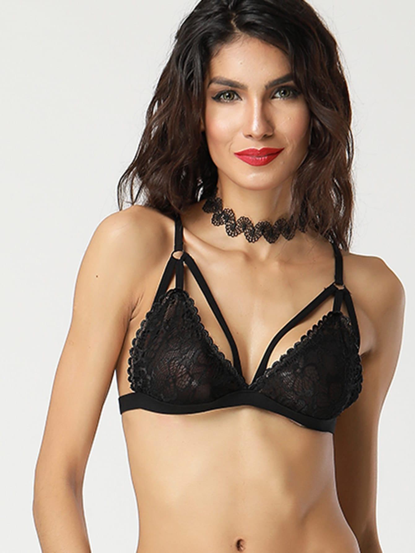 Harness Detail Cross Back Lace Bralette lingerie170703305