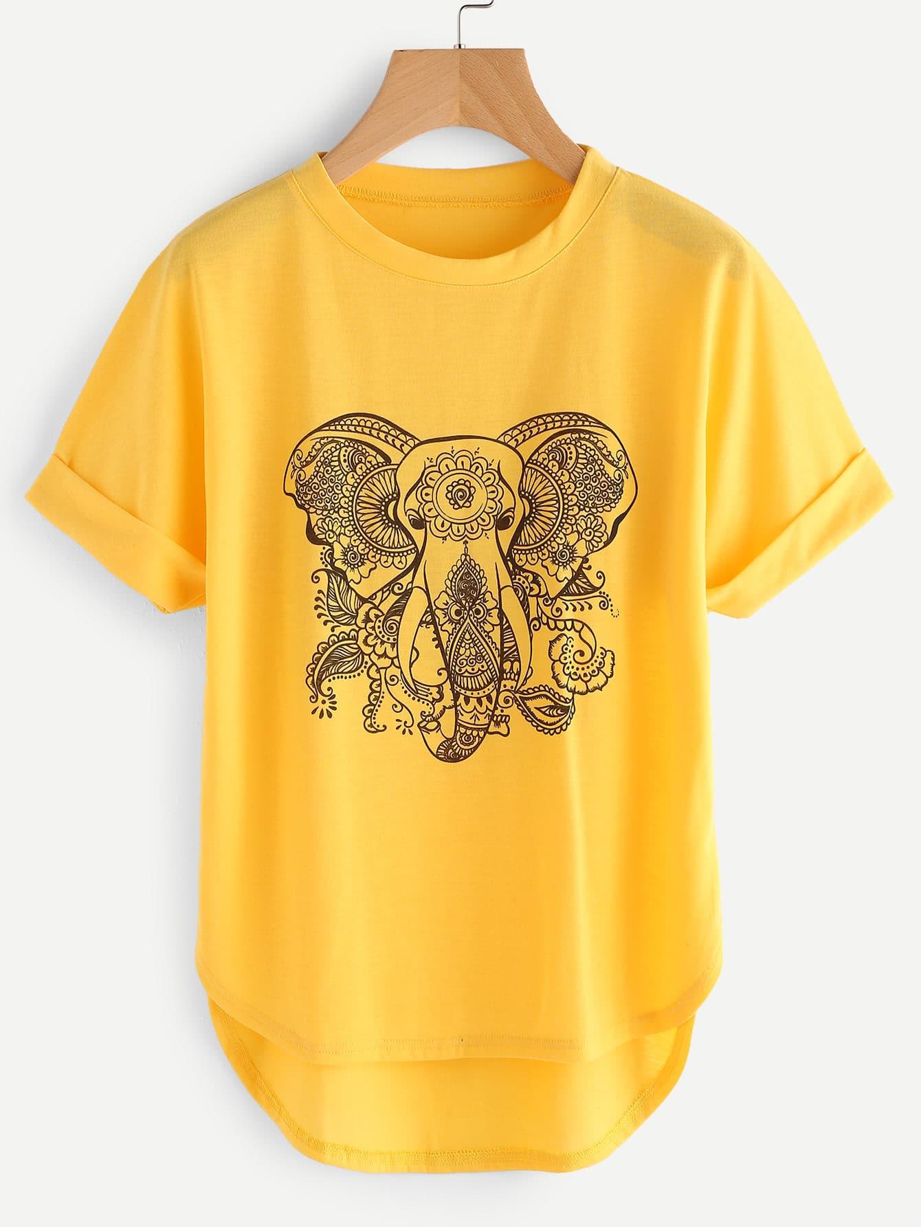Фото Ornate Elephant High Low Curved Hem Cuffed Tee. Купить с доставкой