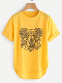 Ornate Elephant High Low Curved Hem Cuffed Tee