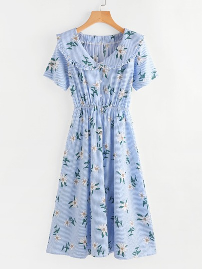 Floral Print Random Pinstripe Long Shirt Dress