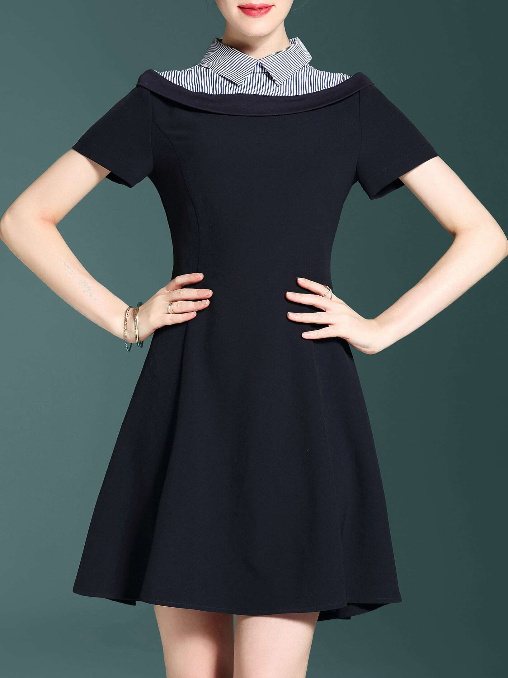 Фото Lapel Striped A-Line Dress. Купить с доставкой