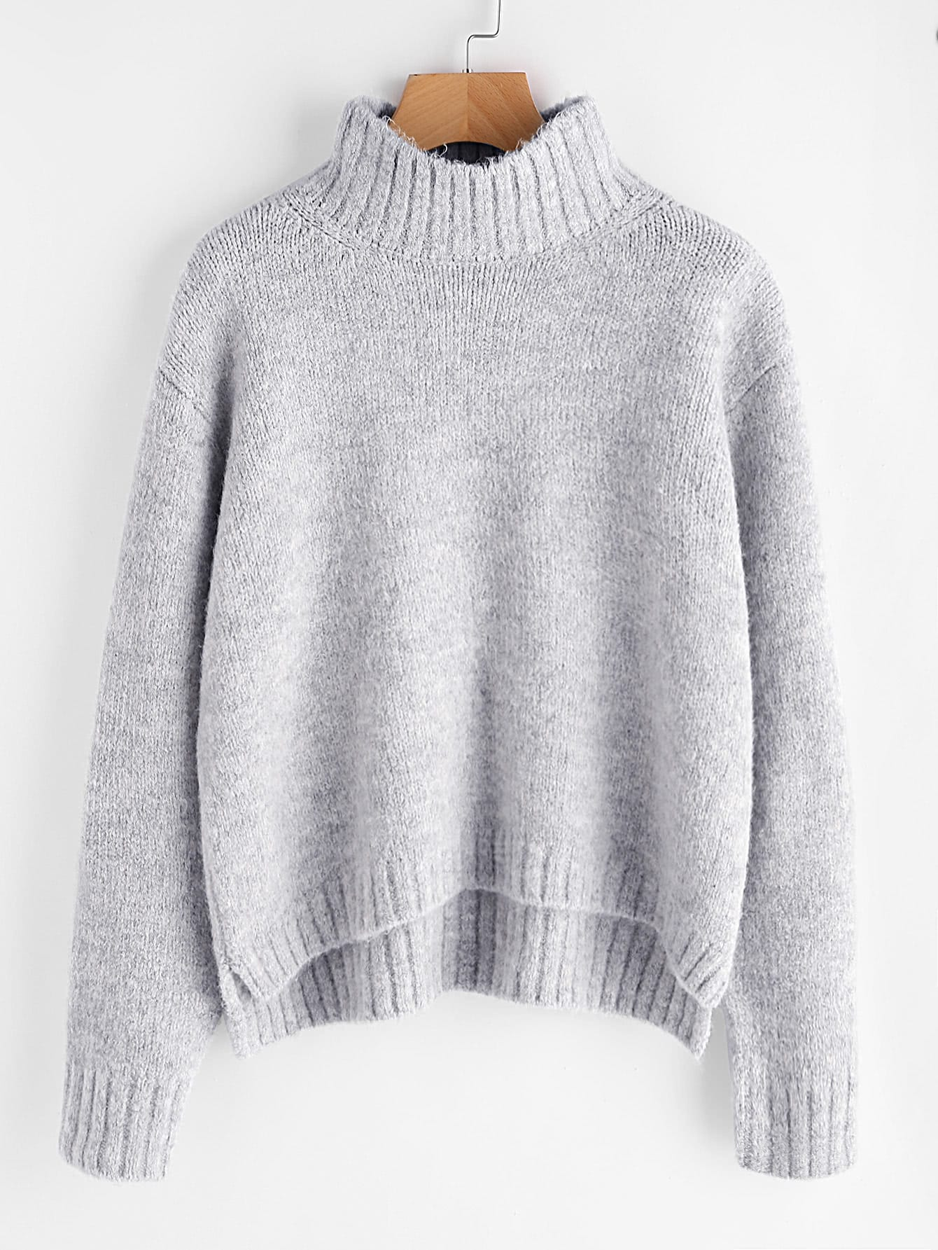 Marled Knit Stepped Hem Jumper iridescent sequin ripped marled knit jumper