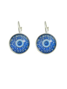Silver Color Crystal Pupil Round Earrings