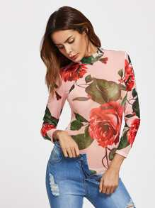 Rose Print Mock Neck Bodysuit