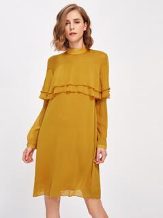 Mock Neck Layered Flounce Trim Dress
