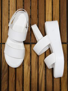 Duo Band Ankle Strap Flatforms WHITE