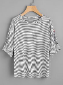 Symmetric Embroidered Striped T-shirt