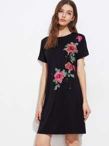 Embroidered Applique Cuffed Tee Dress