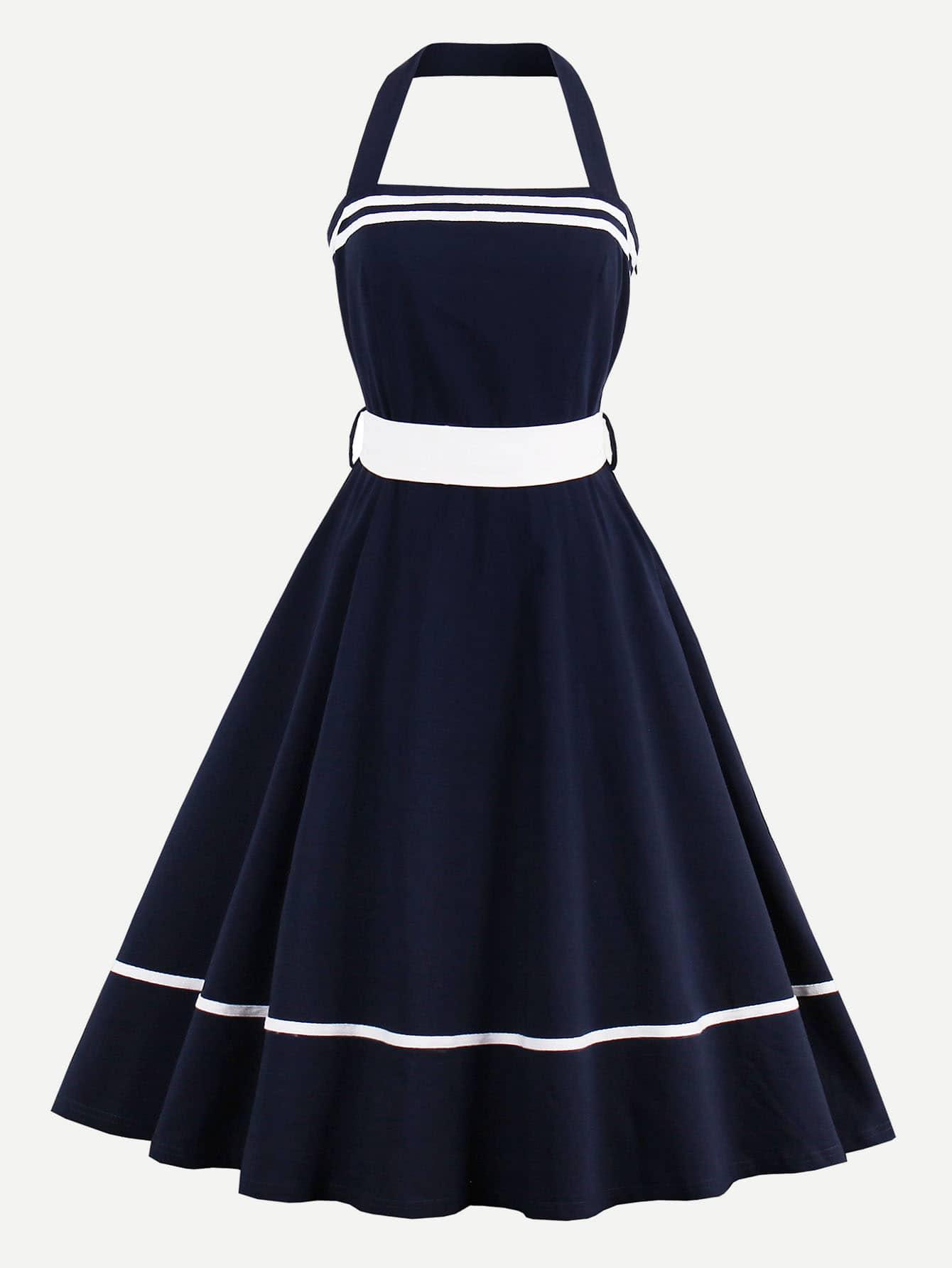 Фото Halter Strap Tape Detail Circle Dress With Contrast Belt. Купить с доставкой