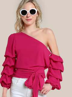 Self Tie Ruched Sleeve Asymmetric One Shoulder Top