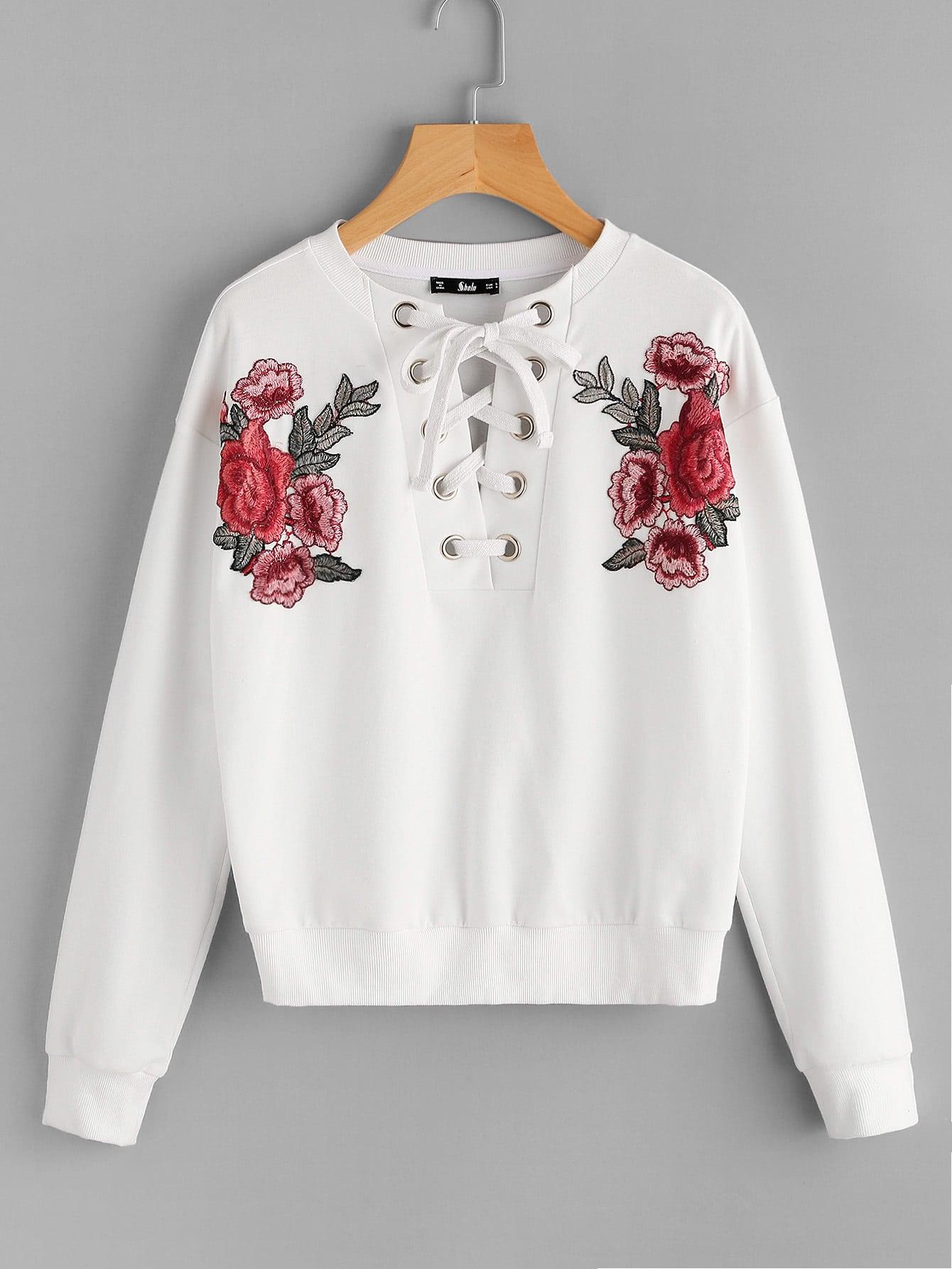 все цены на Embroidered Flower Patch Grommet Lace Up Sweatshirt