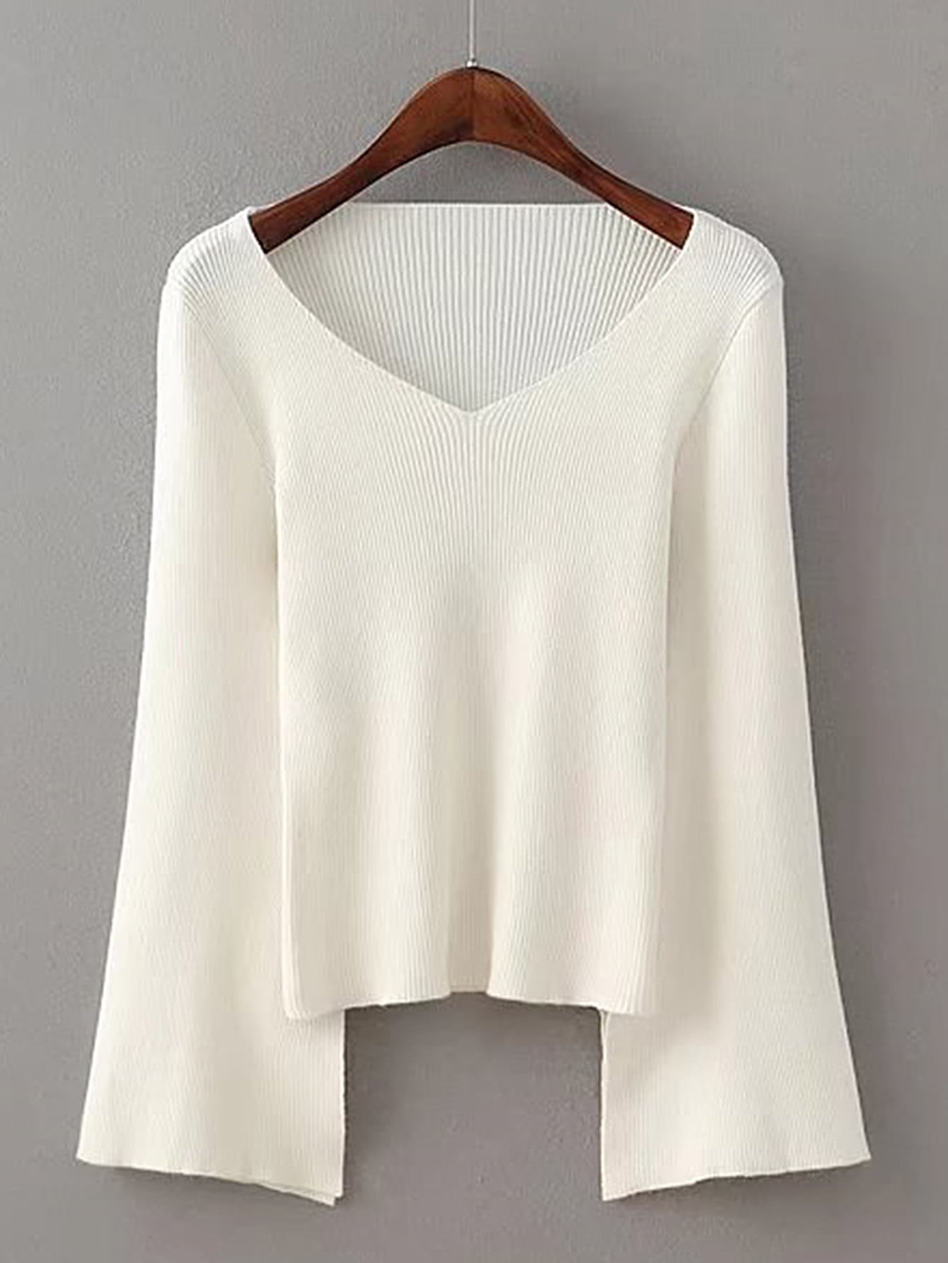 Bell Sleeve Split Detail Sweater