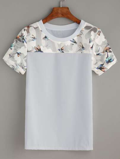 Contrast Bird Print Mesh Yoke Top