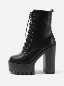 Platform Lace Up PU Heeled Boots