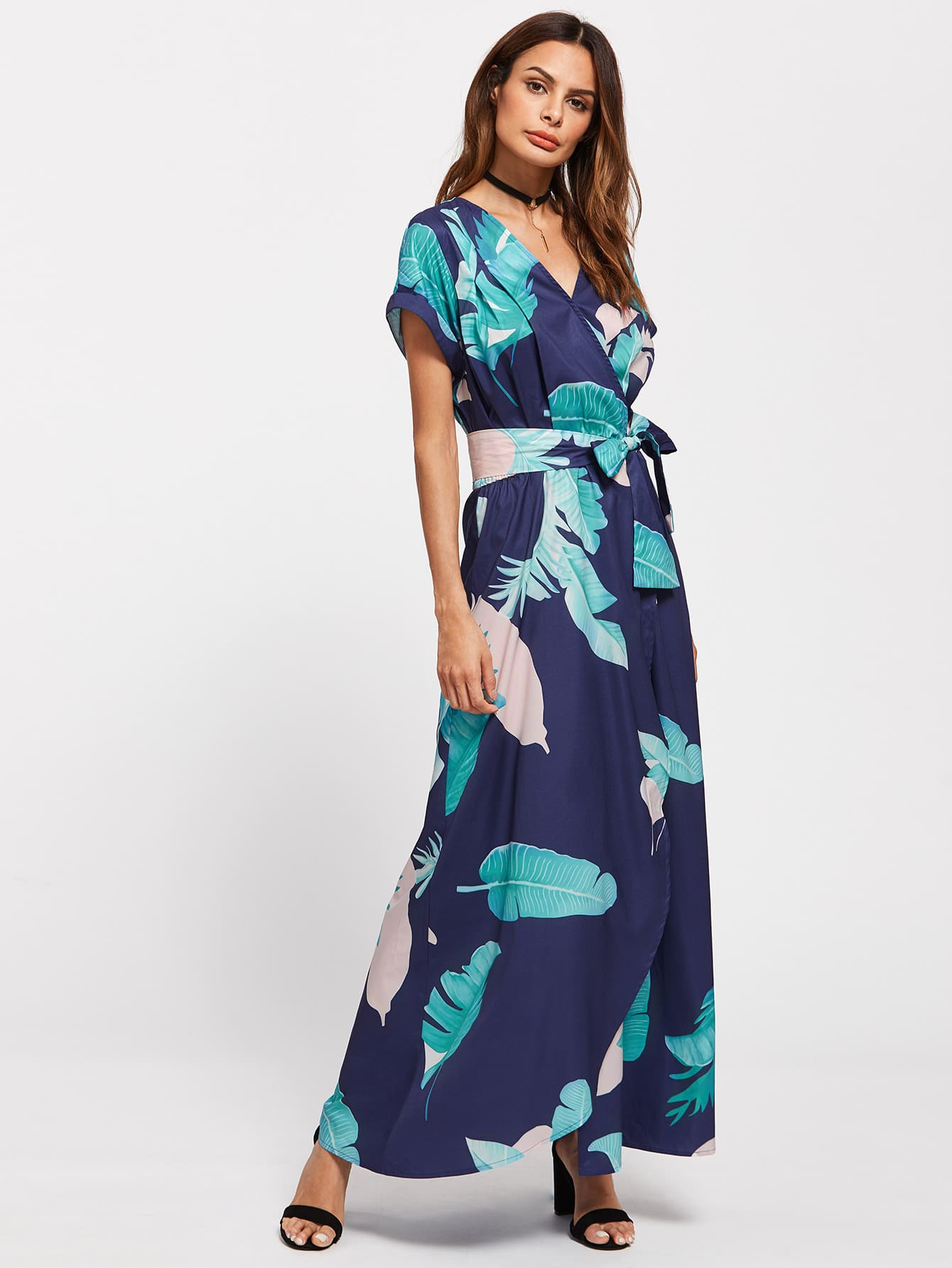 Tropical print dolman sleeve surplice dress shein sheinside for Dolman sleeve wedding dress