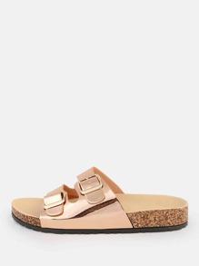 Metallic Double Buckle Sandals ROSE GOLD