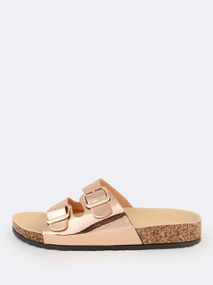 Metallic Double Buckle Sandals ROSE GOLD