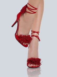 Fringe Wrap Up Stiletto Heels RED