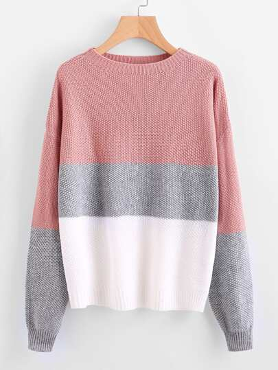 Drop Shoulder Color Block Textured Jumper