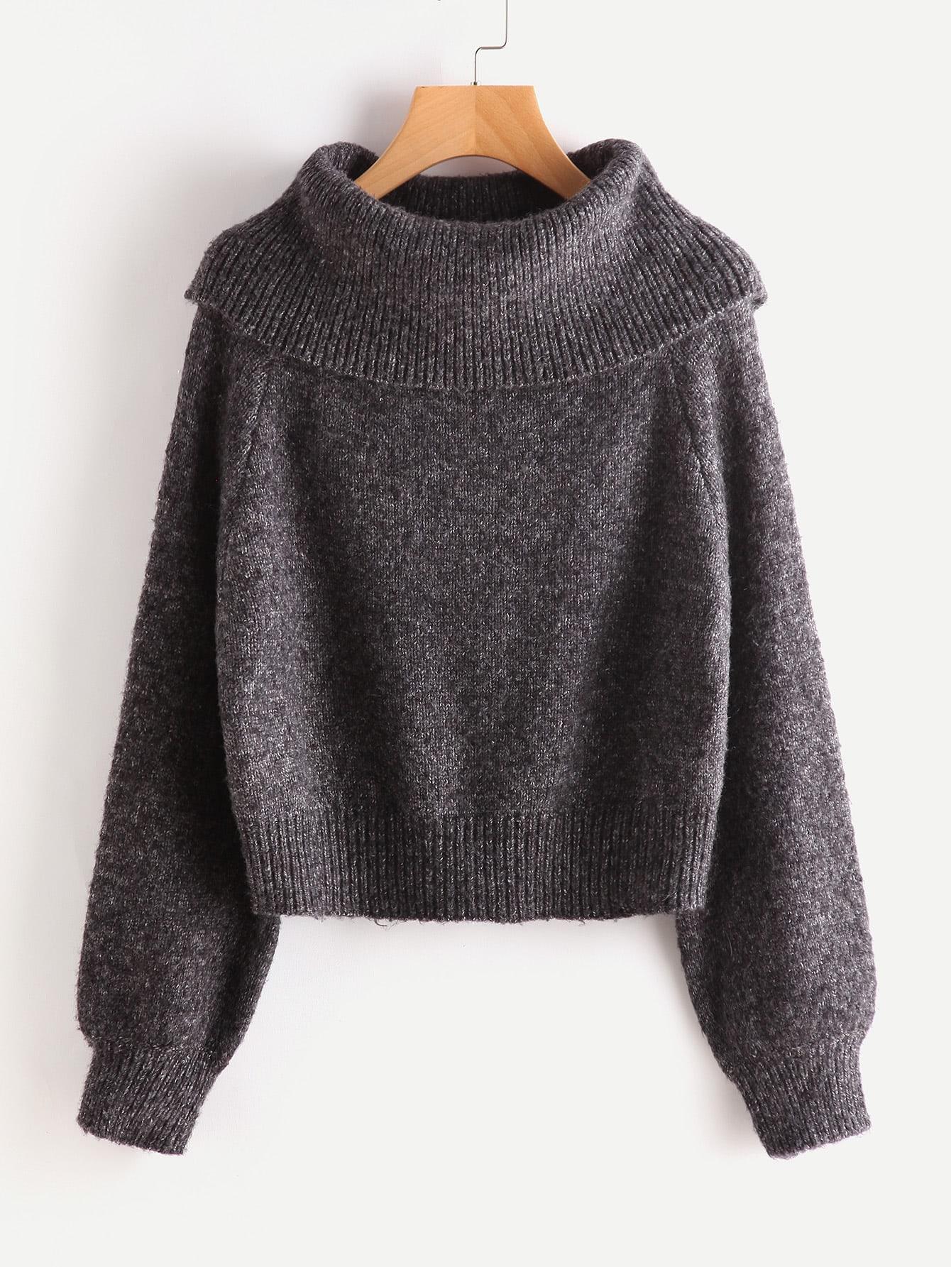 Oversized Turtle Neck Marled Knit Jumper two tone marled knit jumper