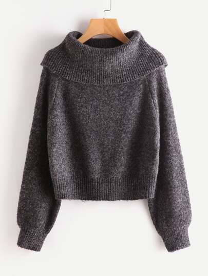 Oversized Turtle Neck Marled Knit Jumper
