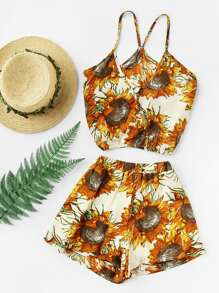 Random Sunflower Print Surplice Cami Top With Shorts