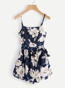 Rückenfreier Cami Jumpsuit mit Blumen Muster und Knoten