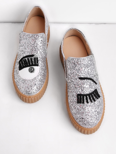 Eyelash Pattern Glitter Slip On Plimsolls