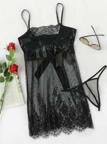 Eyelash Lace Sheer Cami Dress With Thong