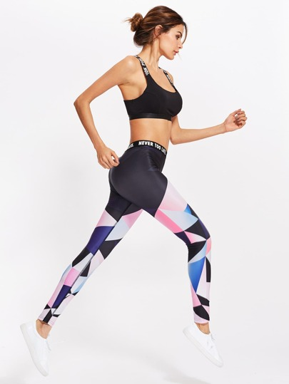 Color Block Letter Print Waist Leggings
