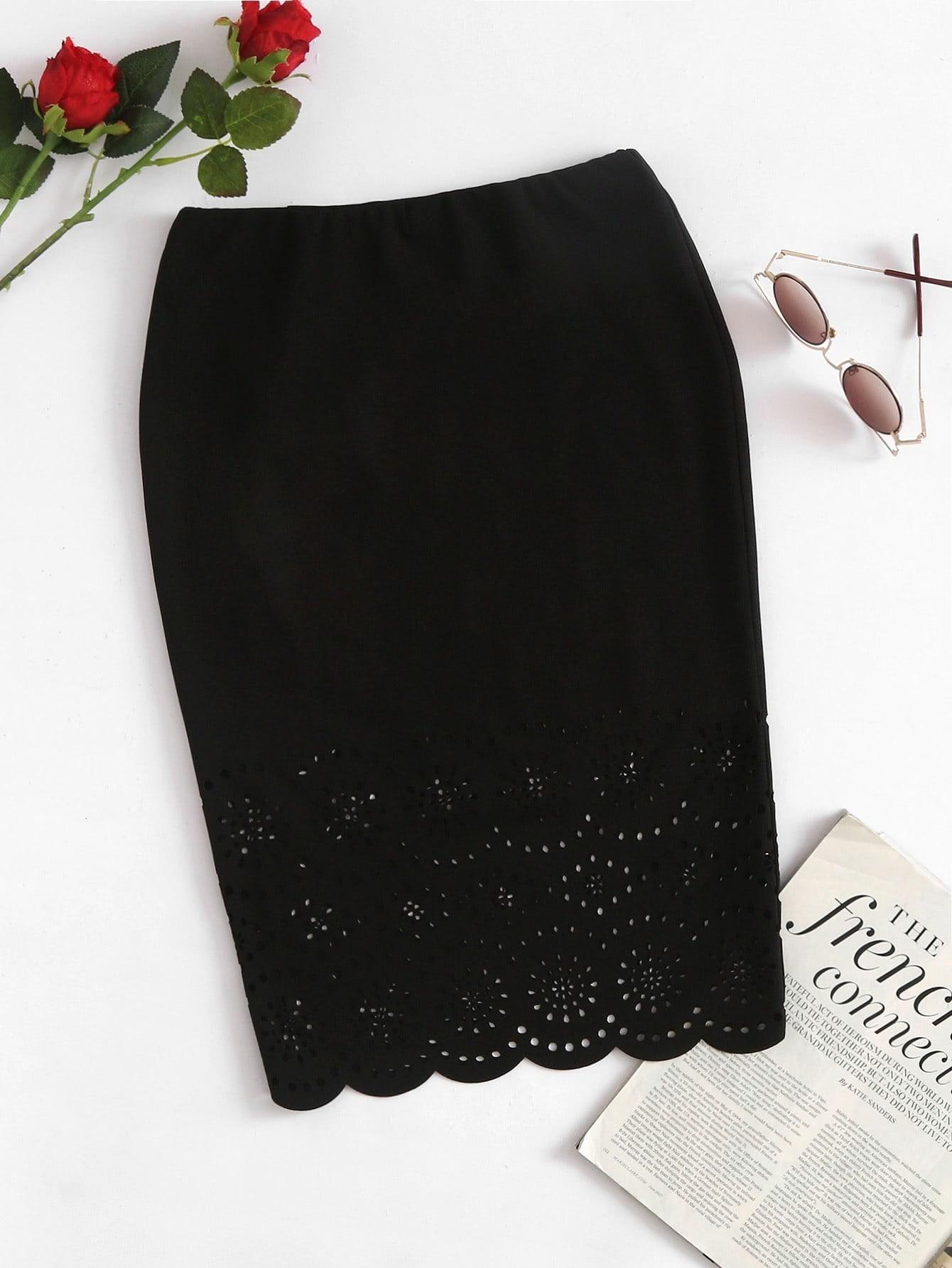 Купить Модная юбка с узором и фестонами, null, SheIn