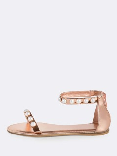 Pearl Accent Ankle Strap Sandals ROSE GOLD