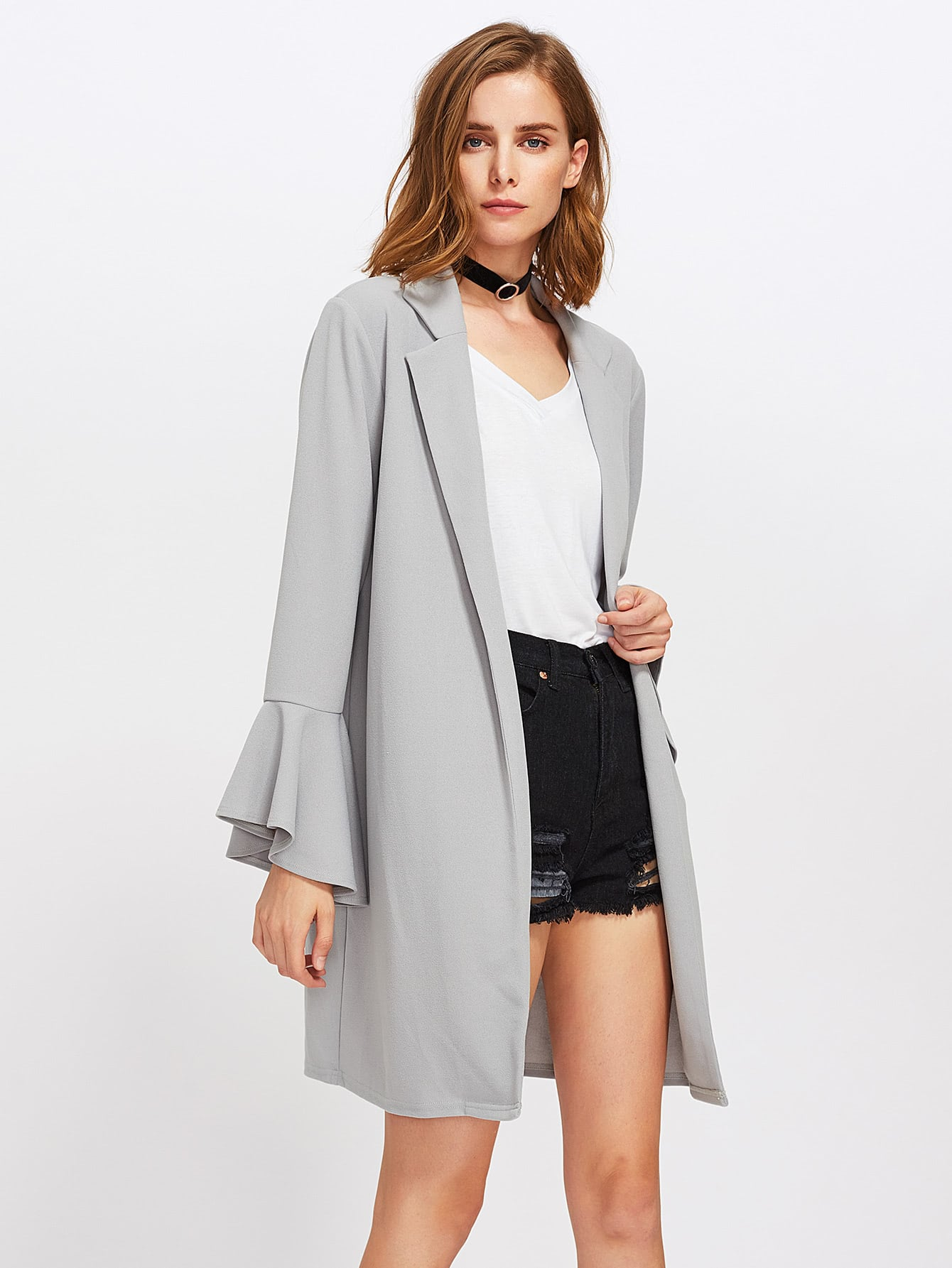 Image of Trumpet Sleeve Notch Collar Open Front Coat