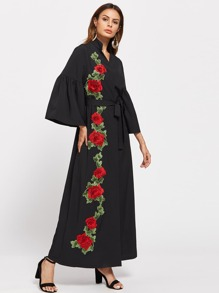 Stand Collar Rose Embroidery Patch Fluted Sleeve Dress