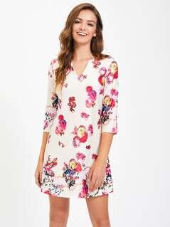 V Notch Front Flower Print Dress