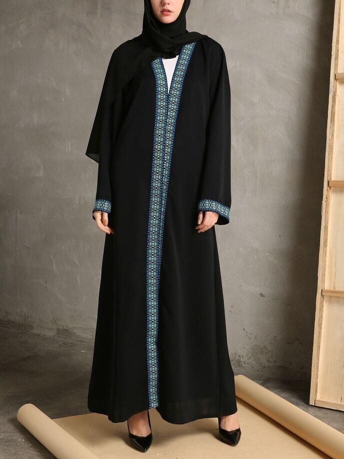 Фото Contrast Embroidered Tape Trim Longline Abaya With Belt. Купить с доставкой