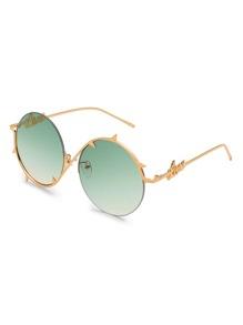 Ombre Lens Asymmetrical Frame Round Sunglasses